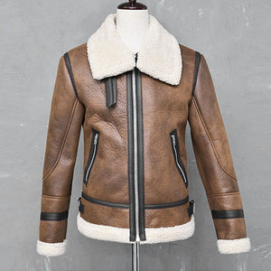 Fur Warm Liner Lapel Leather Zipper Jacket