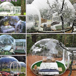Inflatable transparent bubble tent with tunnel
