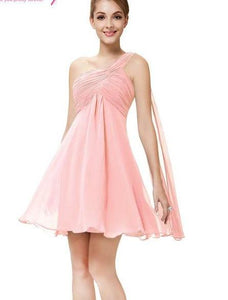 Cocktail One Shoulder Ruffles Chiffon Short Dresses