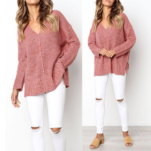 Long Sleeve Knitted Sweater Tops