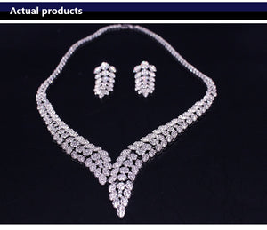 Wedding Zirconia Leaf Design Jewelry Set