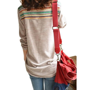 Geometric Loose Long Sleeve Tops