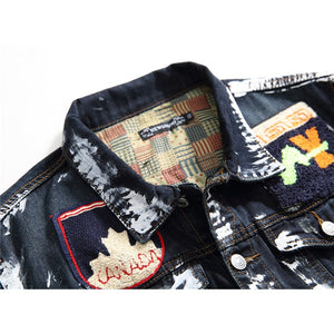 Skull Embroidery Painted Denim Jackets
