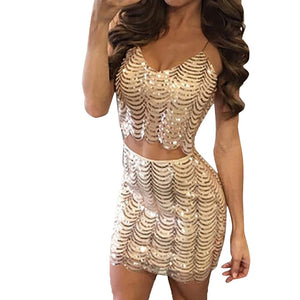 Women's Sequin Crop Tops & Short Skirt