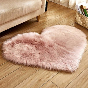 Heart Shaped Faux Fur Rugs For Home