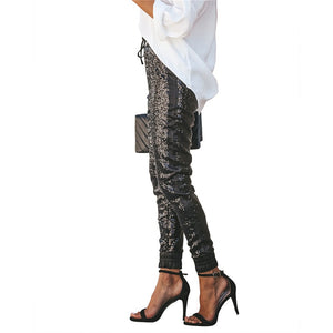 Sequin Long Pencil Pants