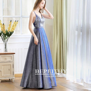 Reflective V-neck Long Evening Dress