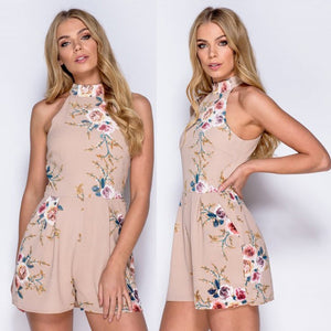 High Neck Floral Mini Romper