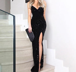 sequined long dress
