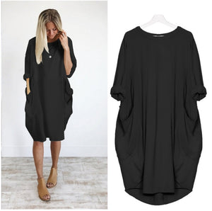 Crew Neck Casual Long Dress