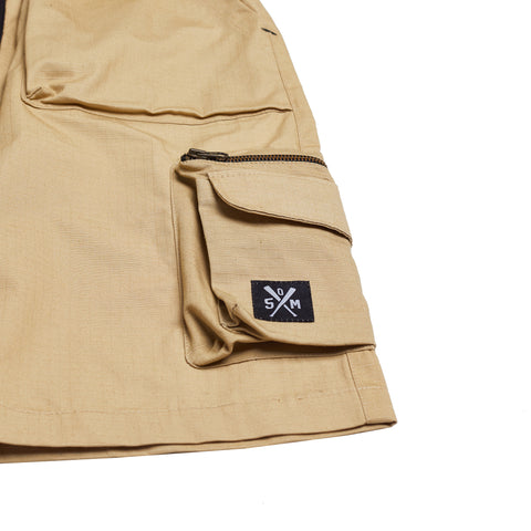 """RETROFUTURE"" sand ripstop cargo shorts"