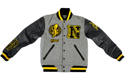 """NAPL HEADCRACKERS"" <br /> varsity jacket b/gr"