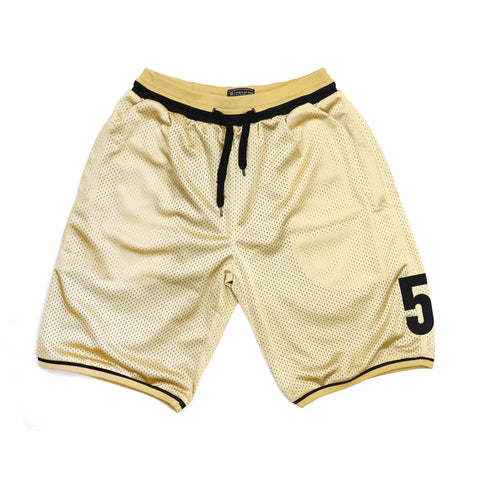 """CAMPUS"" gold basket shorts"