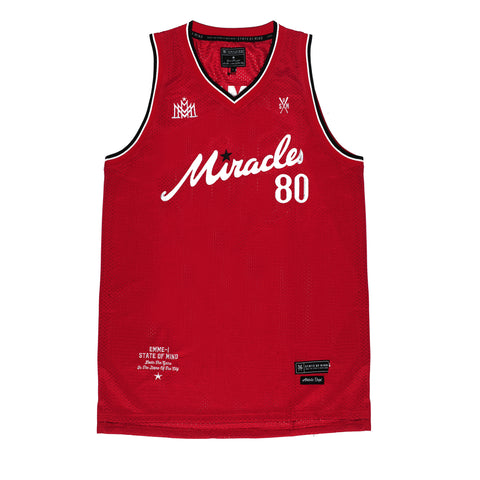 """MIRACLES"" red jersey basketball"