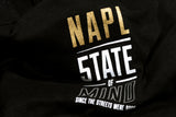"""NAPL CELEBRATION""  gold & reflective black t-shirt"