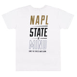 """NAPL CELEBRATION""  gold & reflective white t-shirt"