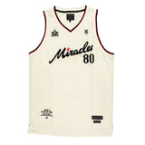 """MIRACLES"" white jersey basketball"