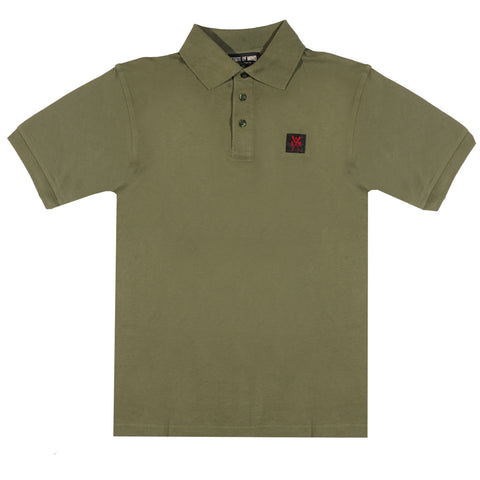 """RETROFUTURE""  military green polo t-shirt"