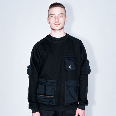 """RETROFUTURE"" cargo sweatshirt black"
