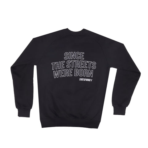 """SINCE THE STREETS"" black reflective sweatshirt"