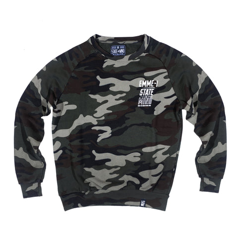 """EMME-I CELEBRATION"" <br /> tundra camo sweatshirt"