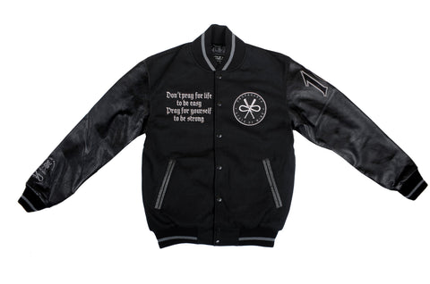 """5OMxPROPAGANDA 10 Years/All Black"" <br /> varsity jacket"