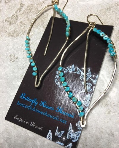 Maile Earrings with Sleeping Beauty Turquoise