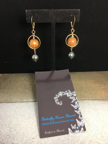Koa and Tahitian Pearl Earrings