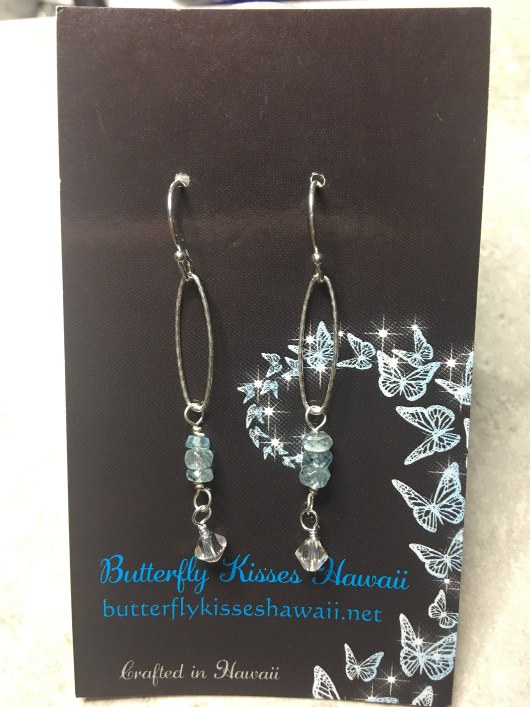 Sterling Silver Earrings with Aquamarine