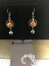 Load image into Gallery viewer, Koa and Tahitian Pearl Earrings