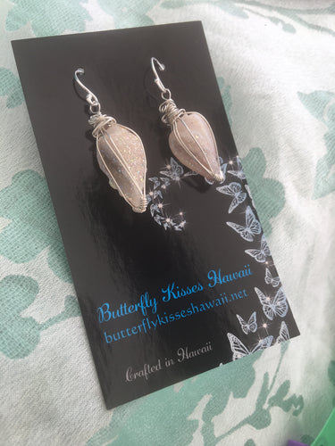 Fossil crystallized shell with Aura coating earrings
