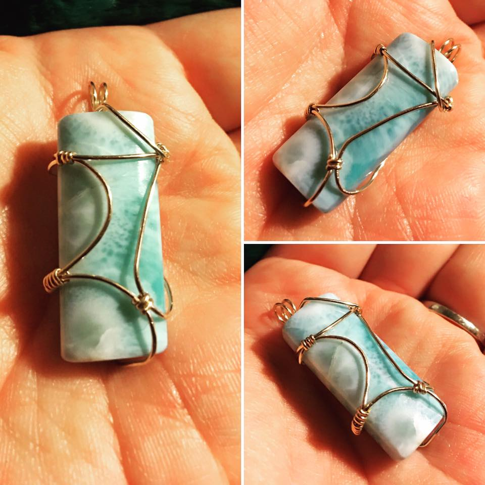 Larimar Wire-Wrapped Pendant