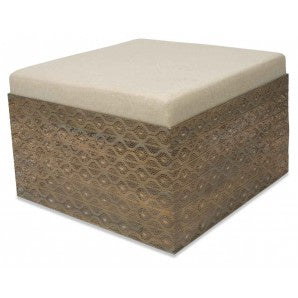 Filigree square metal ottoman