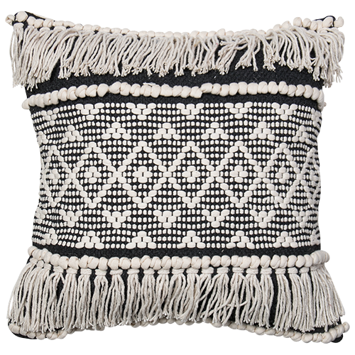 Boho Embellished Cushion- Black/Natural
