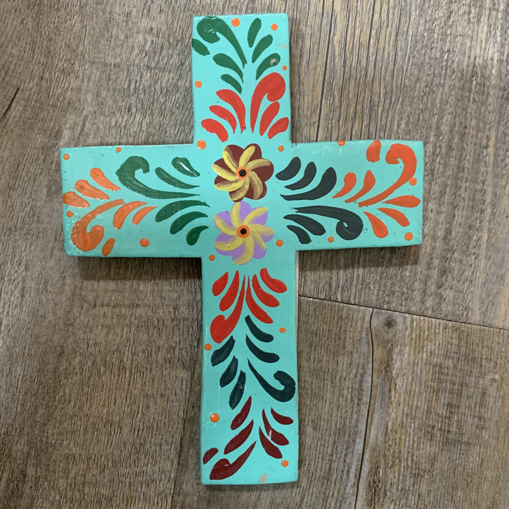 Hand Painted Small Cross- Teal