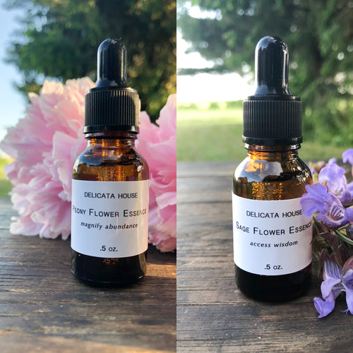 Peony Flower Essence & Sage Flower Essence Set of 2 - Sage Flower Essence - Peony Flower Essence - Flower Remedies - Flower Essence Gift Set - Chakra Support - Third Eye Chakra Balance - Root Chakra Balance