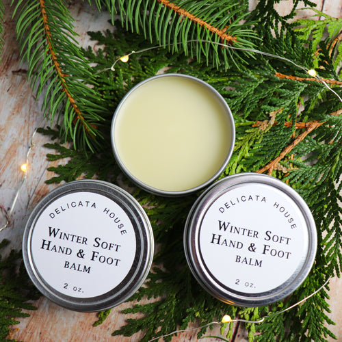 Balm - WinterSoft Hand & Foot Balm - Winter Balm for Dry Chapped Skin - Moisturizing Balm for Hands and Feet - with Apricot Kernel Oil  and Essential Oils