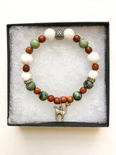 Load image into Gallery viewer, Diffuser Bracelet - Alpaca Charm Diffuser Bracelet with African Turquoise Jasper - Charm Bracelet - Lava Bead Bracelet