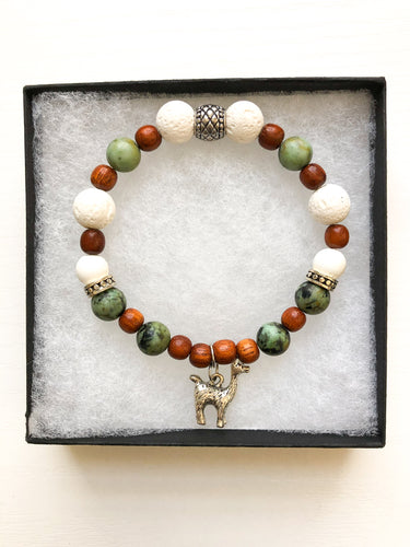 Alpaca Charm Diffuser Bracelet with African Turquoise Jasper