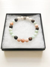 Load image into Gallery viewer, Moonstone And Amazonite Diffuser Bracelet / Lava Bead Bracelet / Boho Jewelry Gift / Moonstone Jewelry /