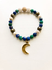 Aromatherapy Moon Charm Bracelet - Lava Bead Diffuser Bracelet - Moon Jewelry - Gift For Mom - Gift Under 35