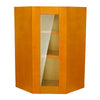 Honey Spice Wall Diagonal Cabinet With Glass Door