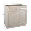 Cream White Sink Base Cabinet 33-36@