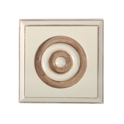 Cream White Onlay Rosette Block@