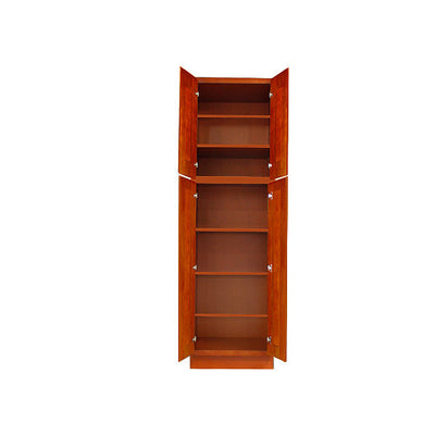 Cherry Shaker Pantry Cabinet with Four Doors