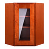 Cherry Shaker Wall Diagonal Cabinet with Glass Door
