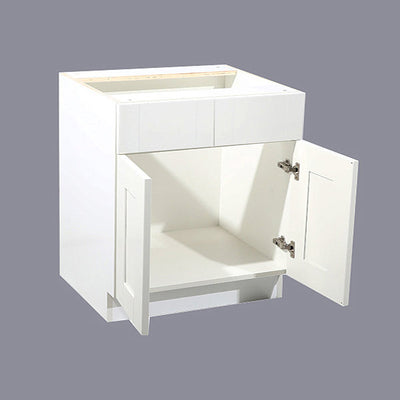 White Shaker Sink Base Cabinet with Two Drawers & Two Doors