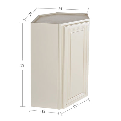 Cream White Wall Diagonal Cabinet@