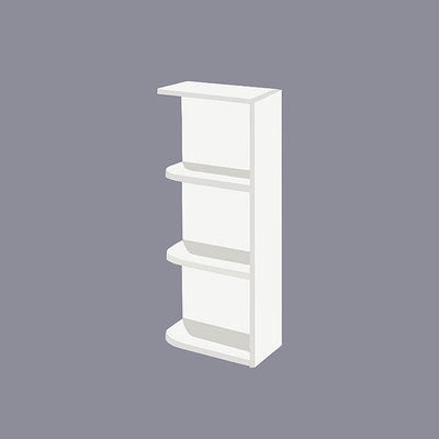 White Shaker Wall End Open Shelf