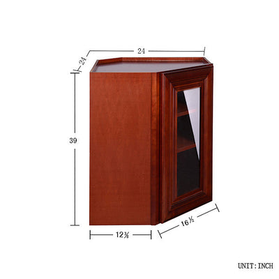 Cherry Maple Wall Diagonal Cabinet with Clear Glass Door